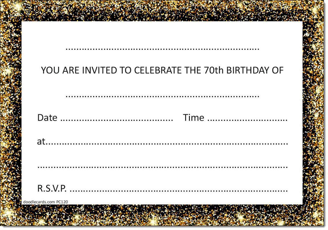 70th Birthday Party Invitations Age 70 Male Mens Female Womens Pack 20 Invites