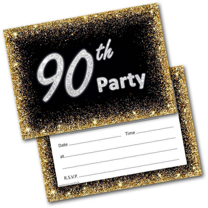 90th Birthday Party Invitations Age 90 Male Mens Female Womens Pack 20 Invites