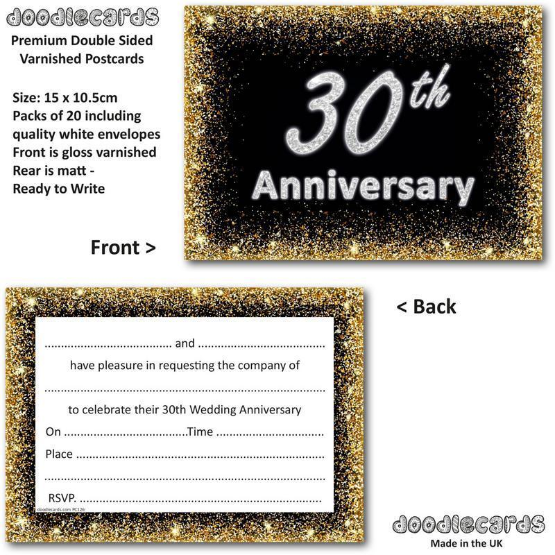 Pearl Wedding Anniversary Invitations 30th Pack of 20 Invites and Envelopes