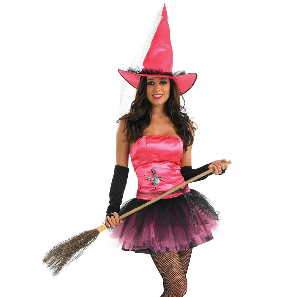 Hat and Gloves NEW Ladies Halloween Pink Witch Fancy Dress Costume Outfit Dress