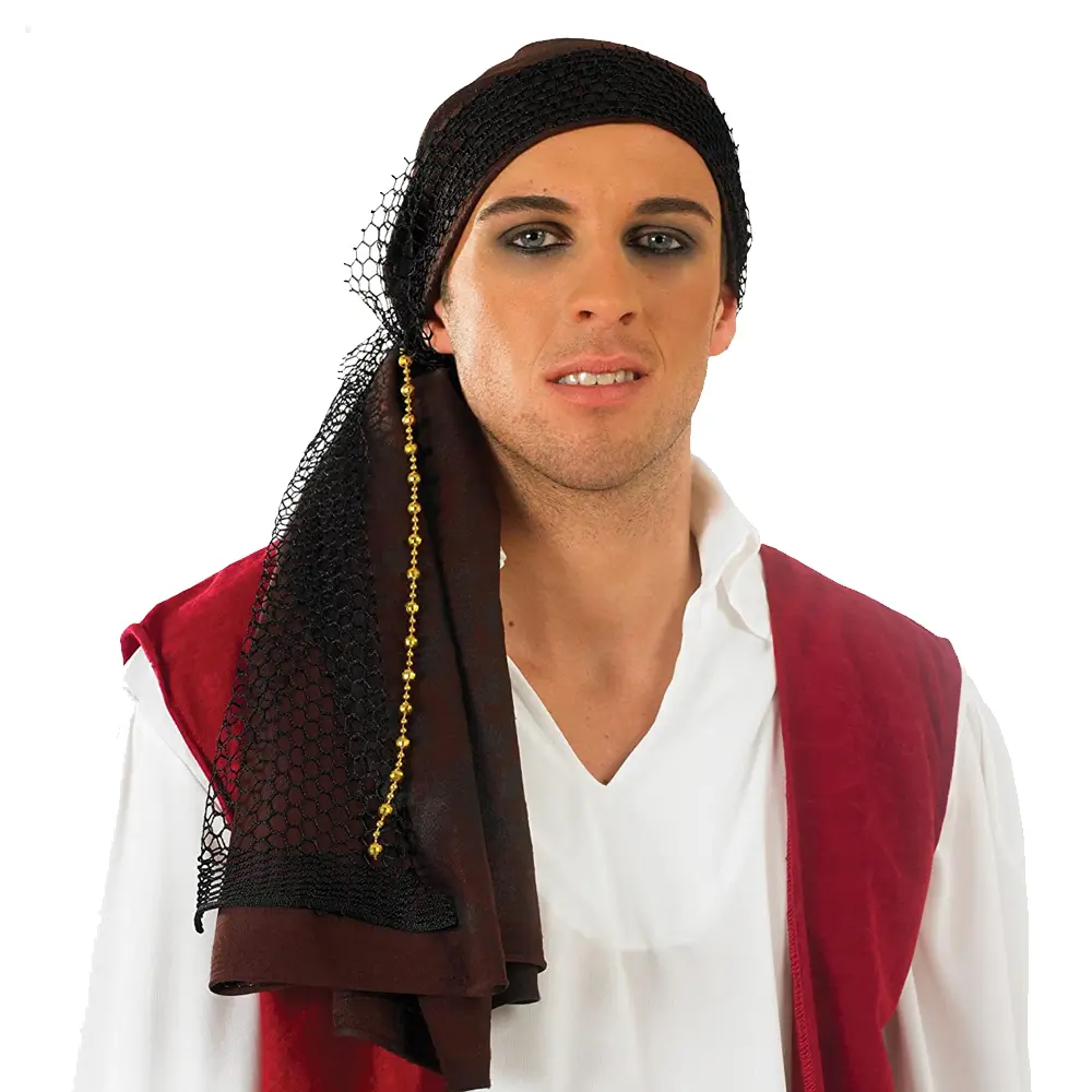 Adult Brown Pirate Costume Bandana Hat Fancy Dress Skull Swords Halloween Scarf