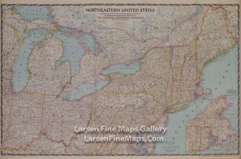Details about 1945 National Geographic Map, Northeastern United States