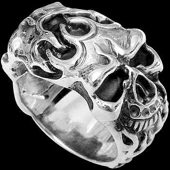 .925 Sterling Silver Flaming Double Skull Rings R2761