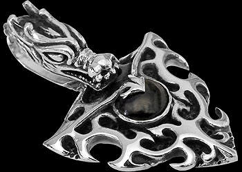 Jewelry - Sterling Silver Flaming Dragon Pendants P291