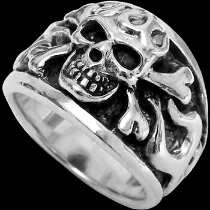 Gothic Jewellery - .925 Sterling Silver Flaming Crossbones Skull Rings R293