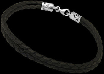 Black Synthetic Leather and Sterling Silver Bracelets BSL024B - 3mm