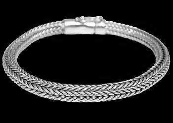 Mens Jewelry - Sterling Silver Bracelets B589 - Security Clasp - 5mm