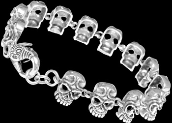 Gothic Jewelry - .925 Sterling Silver Skull Bracelets RCK404 - Ornate Lobster Clasp - 13mm