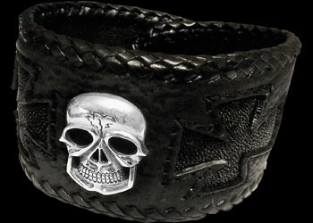 Gothic Jewellery - Genuine Black Shark Leather and Stingray Leather and Sterling Silver Skull Bracelets BB270
