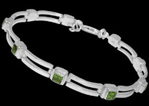 Gemstone Jewelry - Peridot and Sterling Silver Bracelets B16