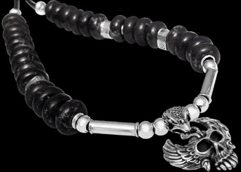 Gothic Jewellery - Brown Beads .925 Sterling Silver Beads Black Leather Necklaces - Skull Silver Pendant BB333