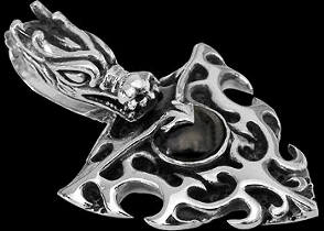 Gothic Jewelry - .925 Sterling Silver Flaming Dragon Pendants P291