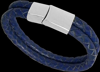Men's Jewelry - Dark Blue Leather and 316L Stainless Steel Bracelets VT11DB