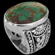 Men's Jewelry - Turquoise and Sterling Silver Ring R1031