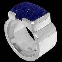Men's Jewelry - Lapis Lazuli and Sterling Silver Rings R358 - Polish Finish