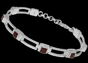 Gemstone Jewelry - Garnet and Sterling Silver Bracelets B16