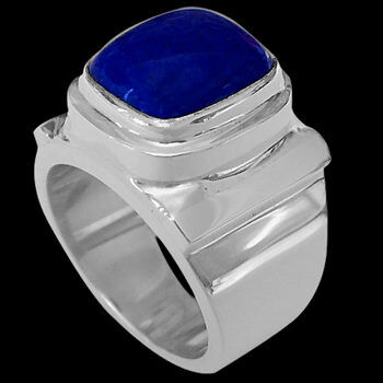 Men's Jewelry - Lapis Lazuli and Sterling Silver Rings MR20-1lp - Polish Finish