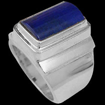 Men's Jewelry - Lapis Lazuli and Sterling Silver Rings MR20-2lp - Polish Finish