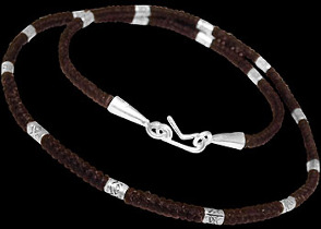 .925 Silver Jewelry - Sterling Silver Beads with Brown Cotton Cord Necklaces BN107br