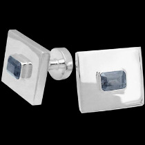 Silver Cufflinks - Topaz and Sterling Silver Cuff Links AZ501TP