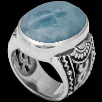 Men's Jewelry - Larimar and Sterling Silver Ring R1031LM