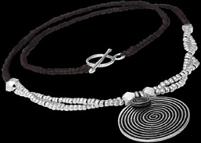 .925 Silver Jewelry - Sterling Silver Beads with Brown Cotton Cord Necklaces BN55br