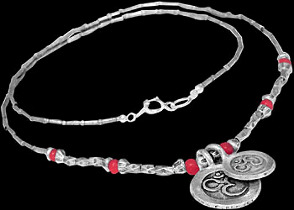 .925 Silver Jewelry - Sterling Silver and Red Beaded Necklaces BN51