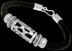 Black Synthetic Leather and .925 Sterling Silver Bracelets BSL001 - 6mm