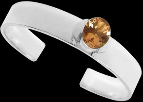 Gemstone Jewelry - Citrine and .925 Sterling Silver Cuff Bracelets B467rct