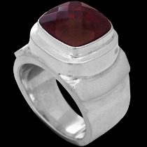 Men's Jewelry - Garnet and Sterling Silver Rings MR20-4 - Polish Finish