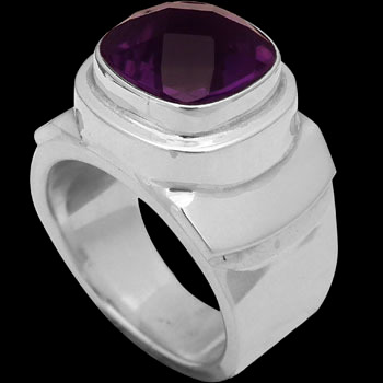 Men's Jewelry - Amethyst and Sterling Silver Rings MR20-4 - Polish Finish