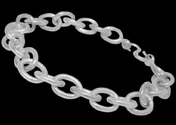 Sterling Silver Link Bracelets B618 - Hook Clasp - 11mm