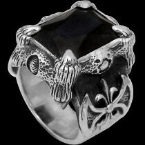 .925 Sterling Silver Black Cubic Zirconia Dragon Claw and Axe Ring R119