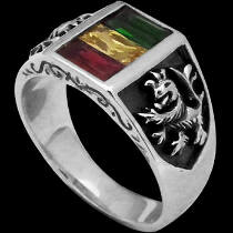 Gothic Jewellery - Yellow Sapphire Emerald Ruby Cubic Zirconias .915 Sterling Silver Rasta Lion of Judah Rings R183