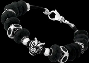 Black Beads .925 Sterling Silver Beads and Black Leather Bracelets - Wolf Head Beads BB919