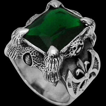 Men's Jewelry - Green Quartz and .925 Sterling Silver Dragon Claw and Axe Ring R119grn