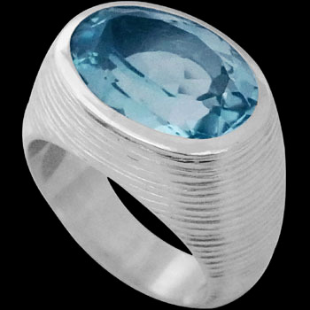 Men's Jewelry - Topaz and Sterling Silver Rings MR752TP - Matt Finish
