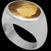 Men's Jewelry - Citrine and Sterling Silver Rings MR752CT - Polish Finish