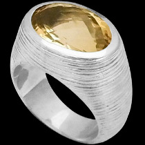Men's Jewelry - Citrine and Sterling Silver Rings MR752CT - Matt Finish