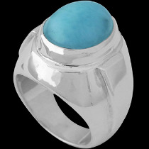 Men's Jewelry - Larimar and Sterling Silver R977