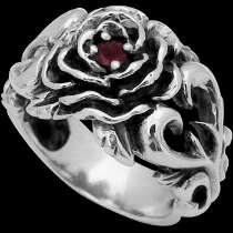 Men's Jewelry - Garnet and .925 Sterling Silver Rose Rings R296