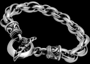 Sterling Silver Tribal Bracelets B571 - Toggle Clasp - 12mm