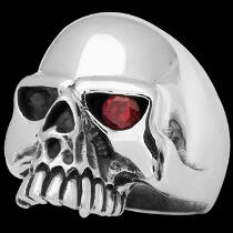 Gothic Jewellery - Ruby and .925 Sterling Silver Skull Rings R25