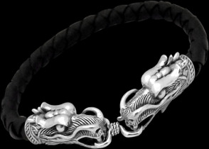 Gothic Jewelry - Black Synthetic leather and .925 Sterling Silver Beaded Dragon Head Bracelets BSL043 - 6mm
