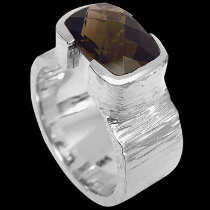 Men's Jewelry - Smokey Quartz  and Sterling Silver Ring R358 - Polish Finish