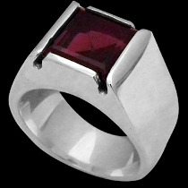 Men's Jewelry - Garnet and .925 Sterling Silver Rings R929ga