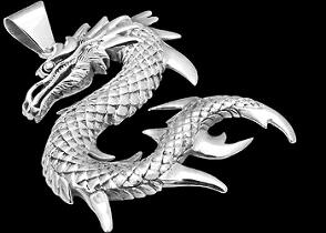 Gothic Jewelry - .925 Sterling Silver Dragon Pendants P9339