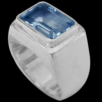 Men's Jewelry - Blue Topaz and Sterling Silver Rings MR036TP