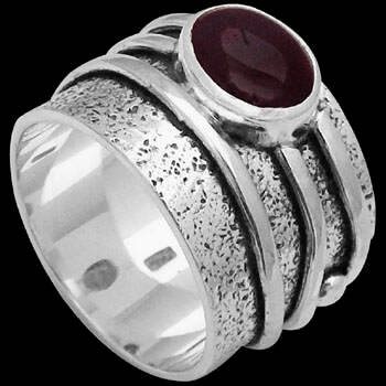 Men's Jewelry - Cabochon Garnet and .925 Sterling Silver Rings R034cga