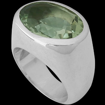 Men's Jewelry - Green Amethyst and .925 Sterling Silver Rings R625gamy